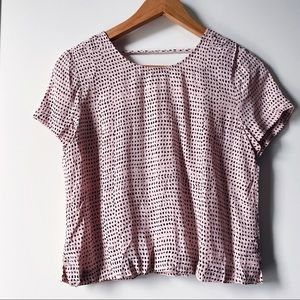 & Other Stories pink cropped short sleeve blouse